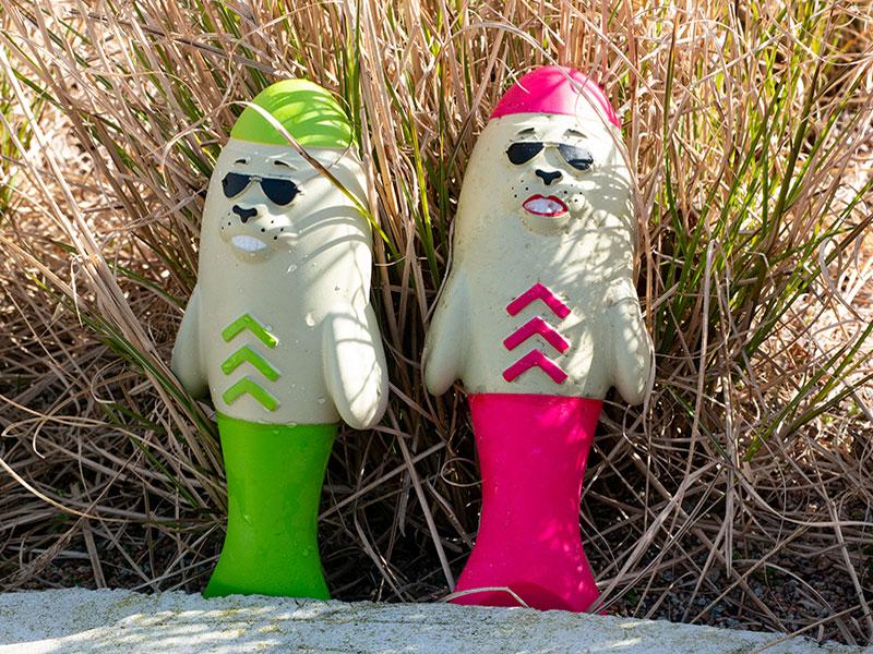 Lieutenant Flipper (pink) und Captain Blubber (grün) in einer Dünenlandschaft, Waserspielzeug für den Hund