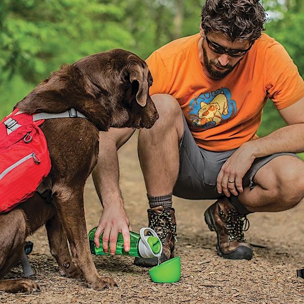 Wasserflasche mit Becher für den Hund