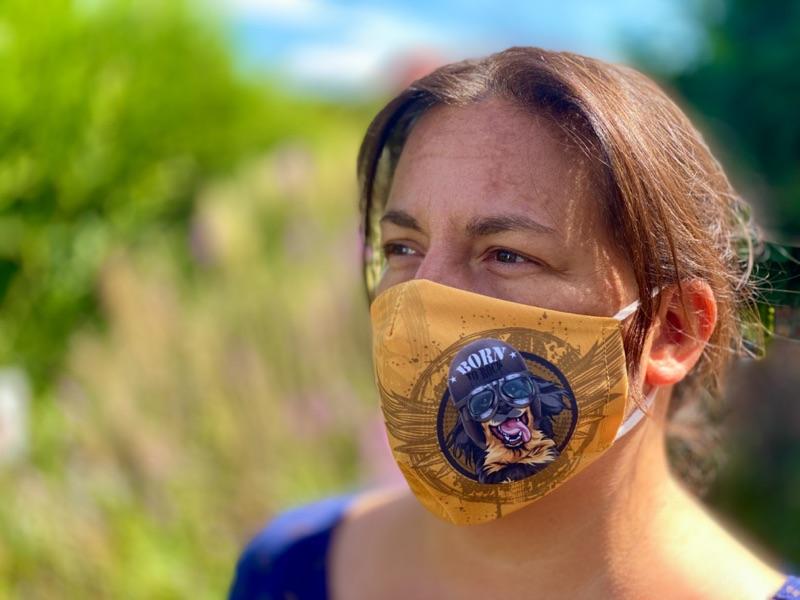 Sehr coole Mund- und Nasen- Maske mit dem Hundemotiv Hovawart, bei 60 Grad waschbar