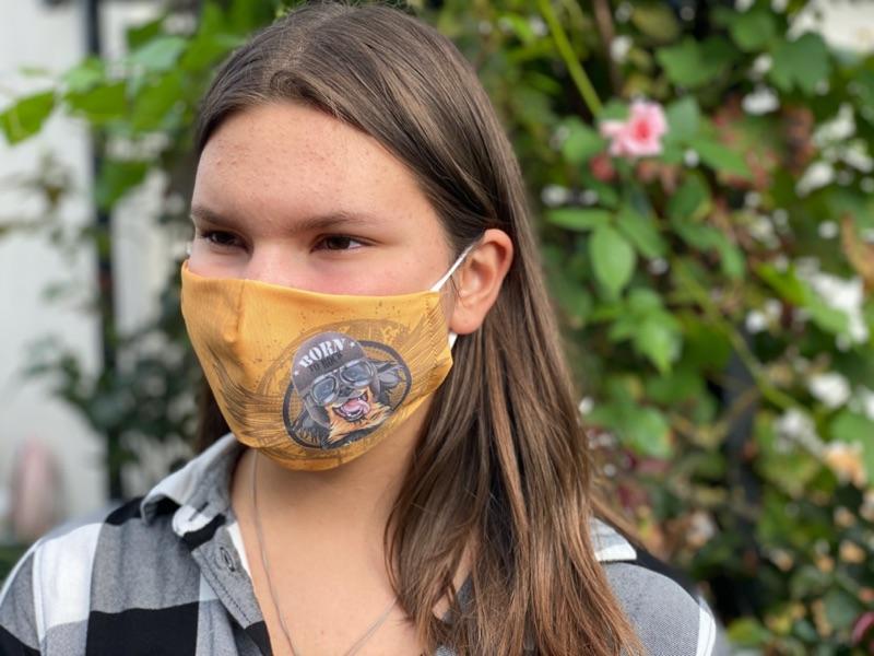 Coole Mund und Nasenmaske mit Hovawart Motiv, doppellagig, bei 60 Grad waschbar