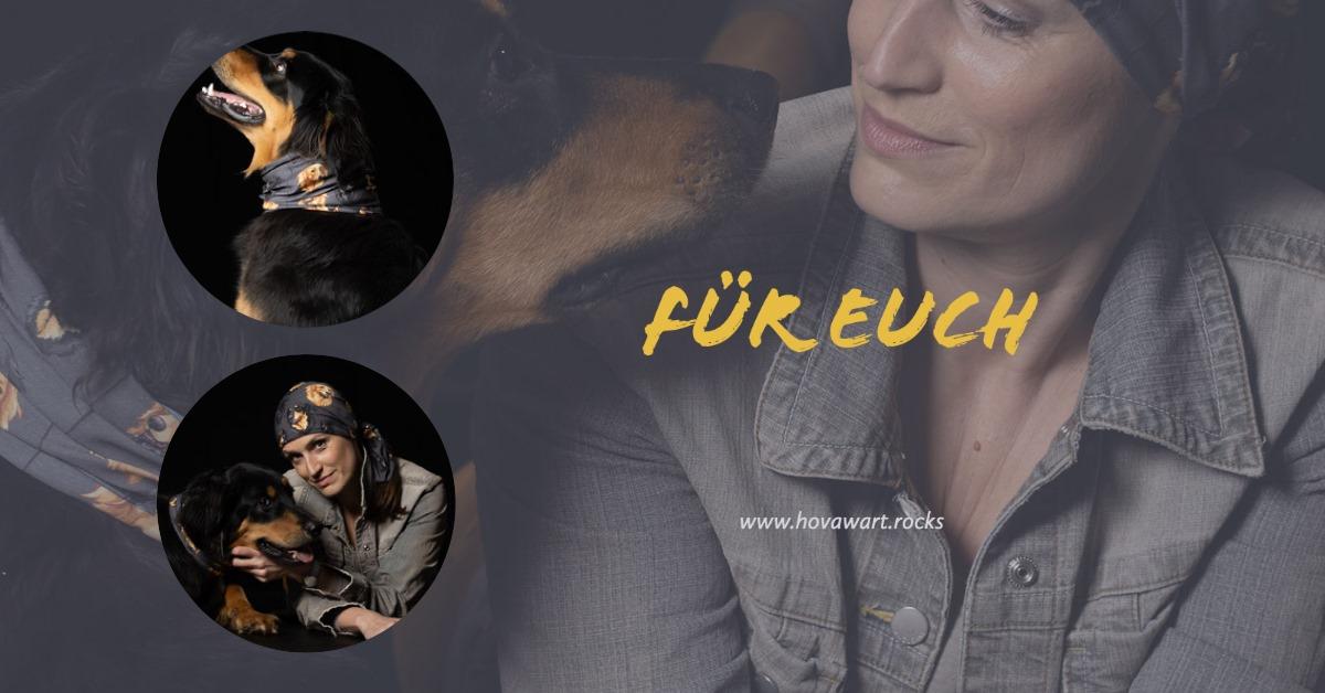 Hovawart Multifunktionstuch mit Model und Hund