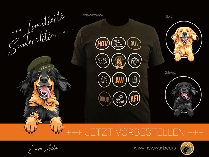Hovawart T-Shirt Outdoor in allen drei farbschlägen, schwarzmarken, blond, schwarz